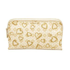 Coach Beige Coated Canvas Hearts Cosmetic Pouch